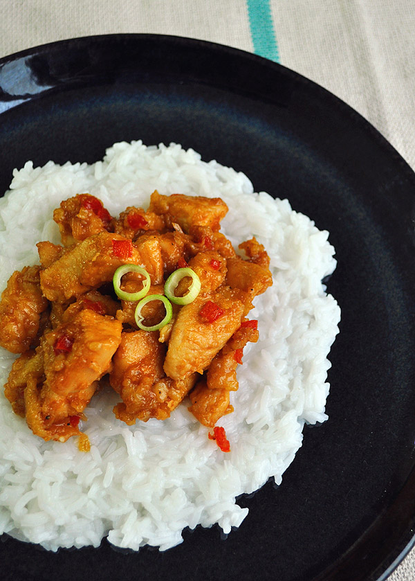 sour and sweet chicken pieces