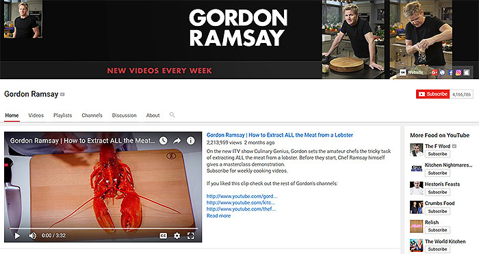 Gordon Ramsay on Youtube