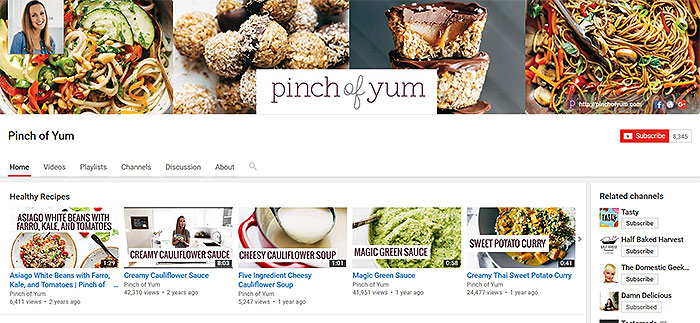 Pinch of Yum on Youtube